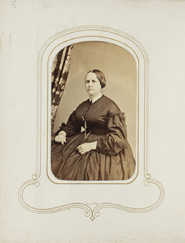 1.54. Woman with curtain. Thomas Heney, NYC. CDV.